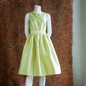 Isaac Mizrahi Chartreuse Yellow Event Dress w Belt